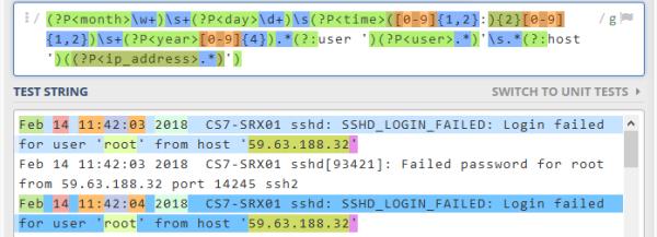 Regex SSH_LOGIN_FAILED Juniper Junos SRX